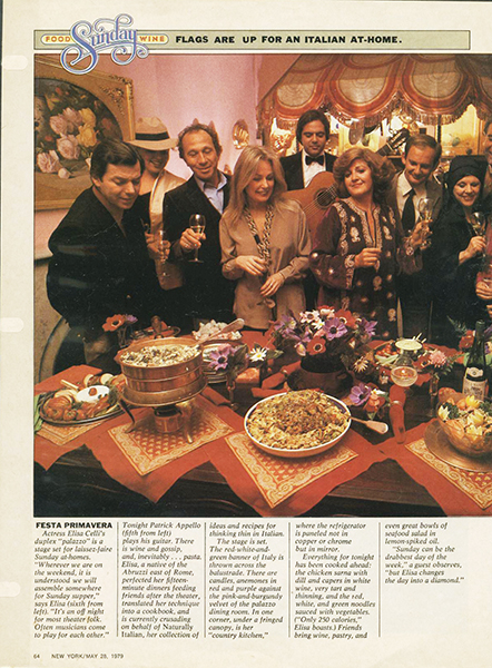 At a party featured in the New York Magazine Food issue, 1979