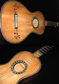 Two views of Patrick's 1810 Petitjean guitar, a fine example of the early 19th century school of Paris guitar building